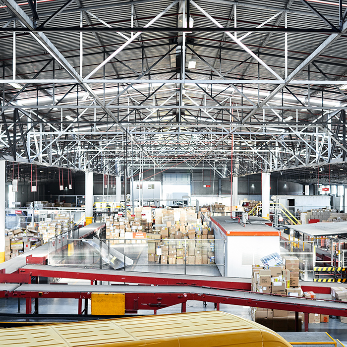 A picture of a warehouse full of products